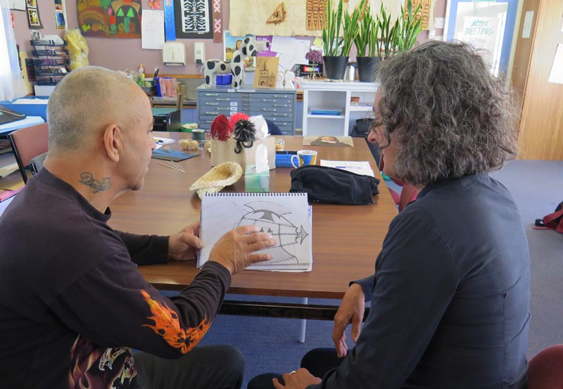 Graham Lalor and Kim Morton talk about the first sketch he did at Otautahi Creative Spaces