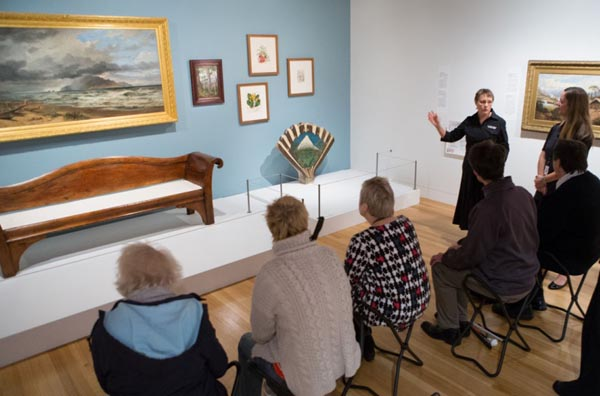 Judith Jones conducts a pilot tour of Ngā Toi │Arts Te Papa for blind and sight-impaired visitors