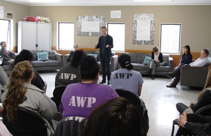 Damien Wilkins talks to prisoners graduating from the creative writing course