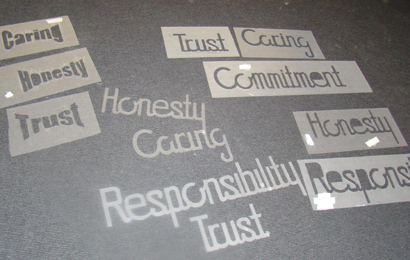 Stencils of the five principles