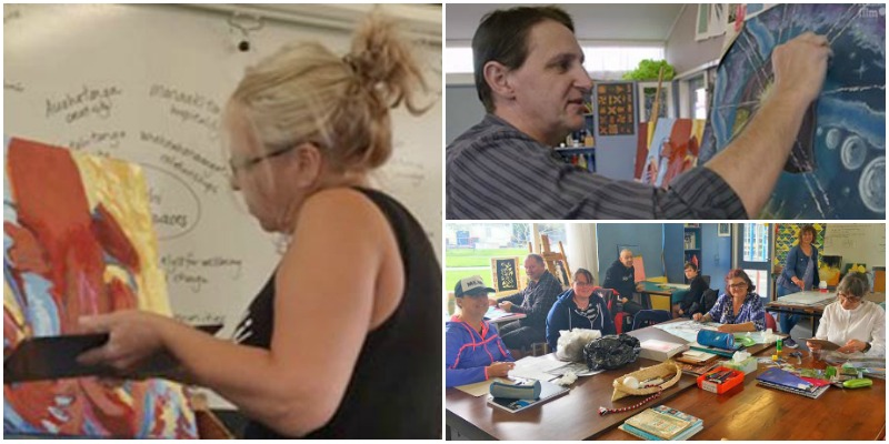 A collage of images of artists at Room 5, Ōtautahi Creative Spaces