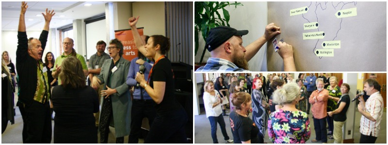 A collage of photos from Creative Spaces 2020, a national conference organised by Arts Access Aotearoa