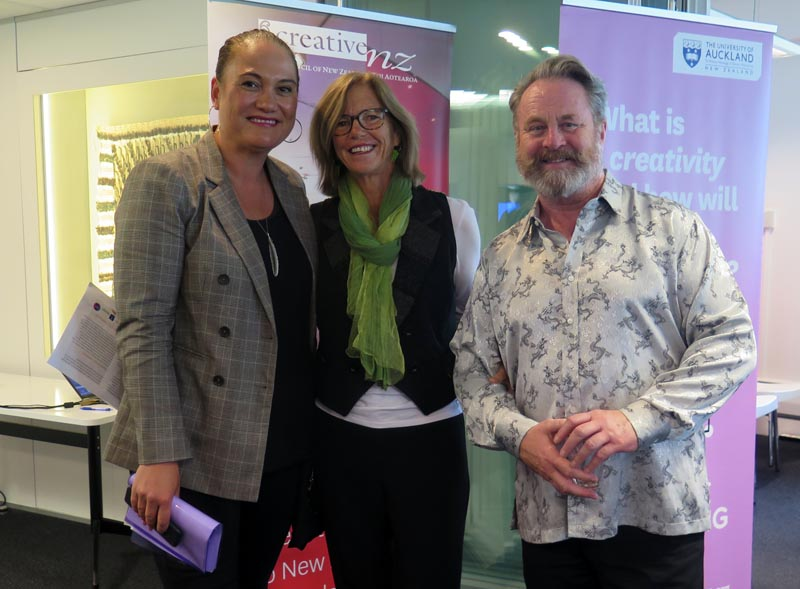 Minister Carmel Sepuloni, Dr Karen Walker and Richard Benge, Arts Access Aotearoa, at the launch of Te Ora Auaha in Wellington
