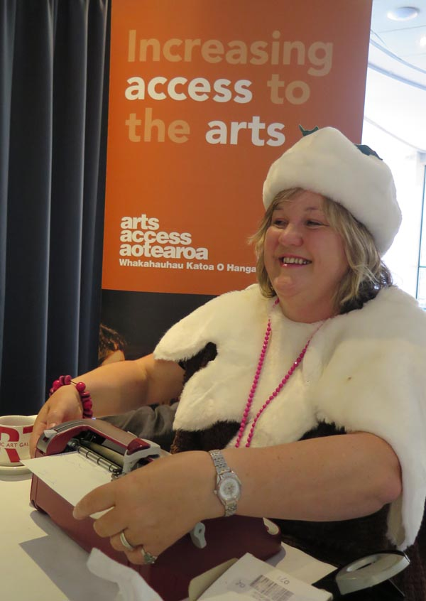 Julie Woods at a Christmas meeting of the Arts For All Otago Network