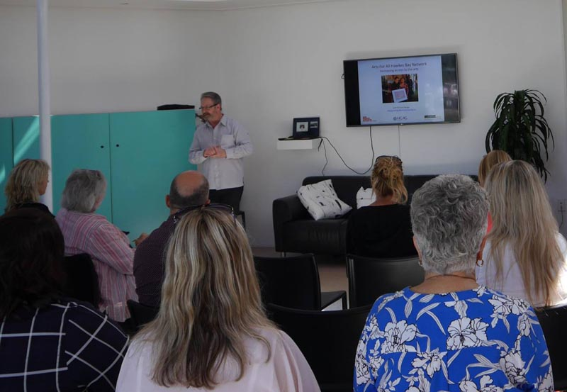 Richard Benge at the Arts For All meeting in the Hawke's Bay