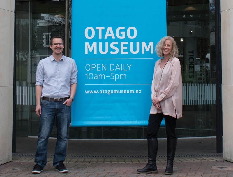 Jason Strawbridge and Caroline Cook outside Otago Museum
