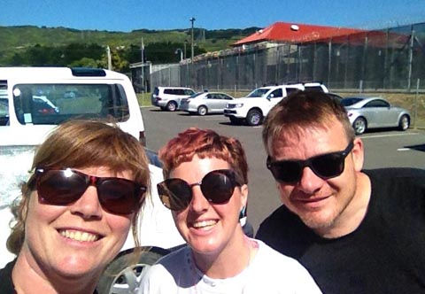 Jacqui Moyes with artists Aimee Martin and Dan James outside Arohata Prison
