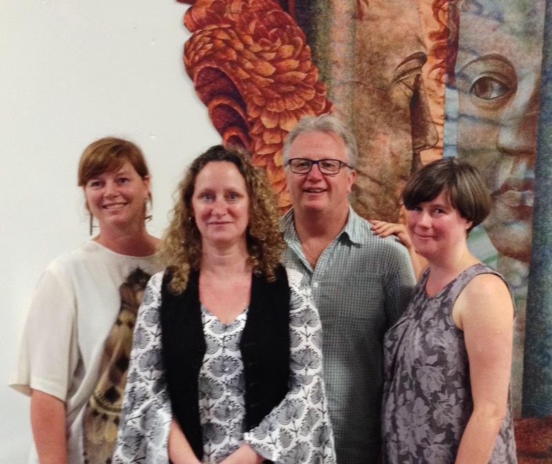 Jacqui Moyes, Selina Busby, Peter O'Connor and Molly Mullin at the Arts in Corrections Northern Network meeting in Auckland, 2017