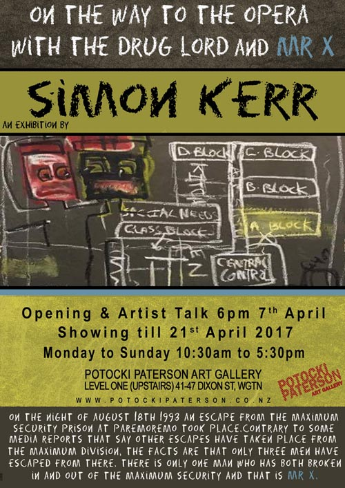Poster advertising Simon Kerr's exhibition