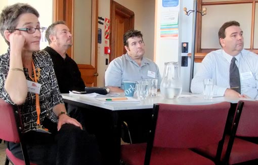 Rachel Ingram and members of the Arts For All Wellington Network meeting in 2013