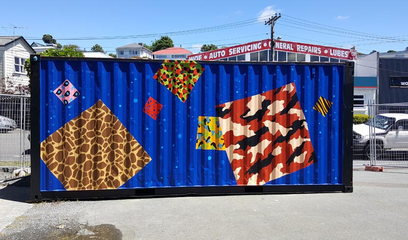 Artwork on a shipping container