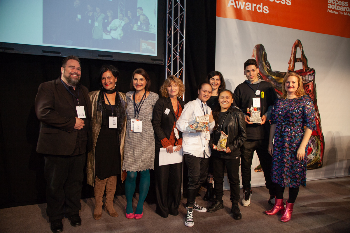 Victoria Spackman, Director of Te Auaha, with the recipients of the Arts Access Te Auaha Community Partnership Award 2018