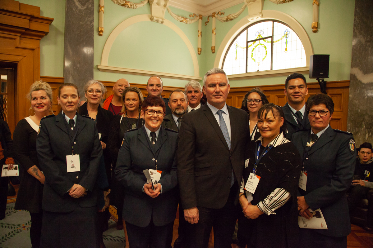 Minister Kelvin Davis with recipients and Corrections staff at Te Putanga Toi Arts Access Awards 2018 Photo: Vanessa Rushton Photography