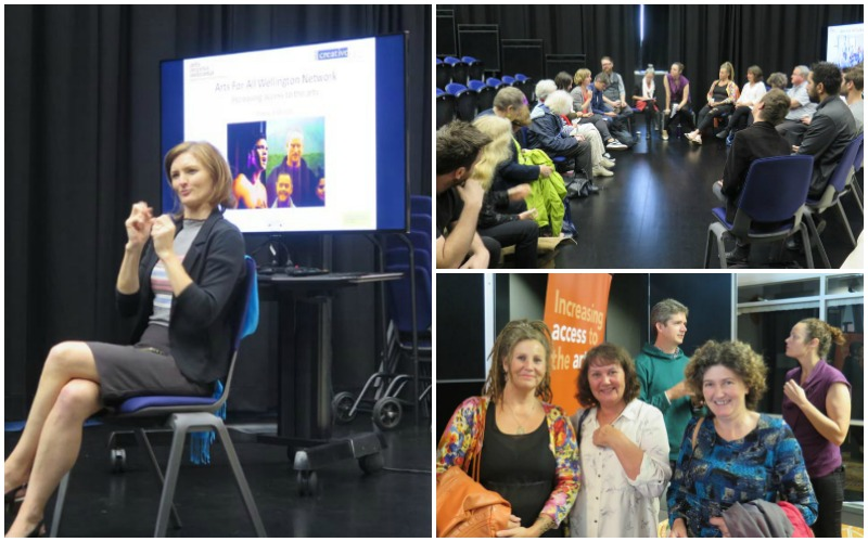 A collage of images from the Arts For All Wellington Network meeting in March 2018