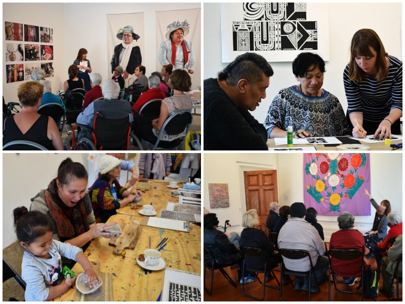 A collage of images of Connect the Dots, an Auckland charity