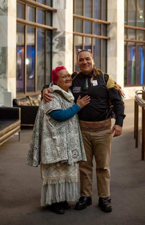 Rue-Jade Morgan with his mother at Te Putanga Toi Arts Access Awards 2018