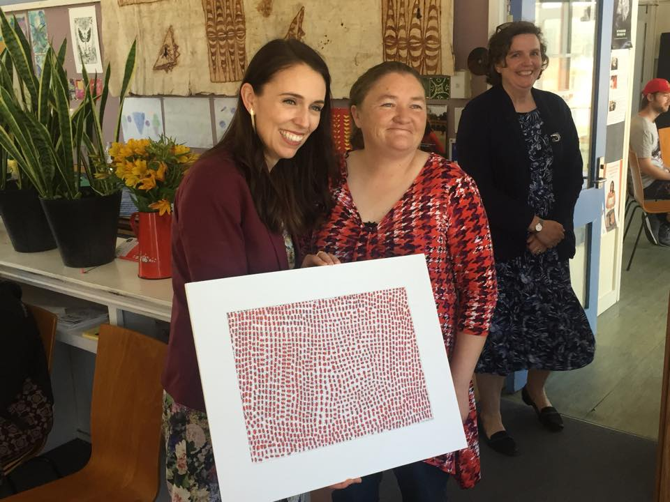 Room 5 artist Carmen Brown and Prime Minister Jacinda Ardern
