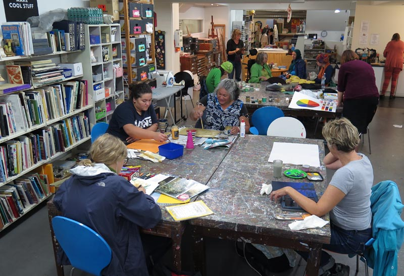 Artists at work at Vincents Art Workshop
