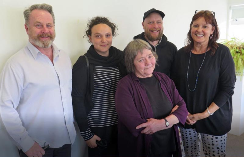 Richard Benge, Allie Manners, Menno Huibers, Glen McDonald and Jenny Hutchings after a Wellington Community Arts Network meeting in November