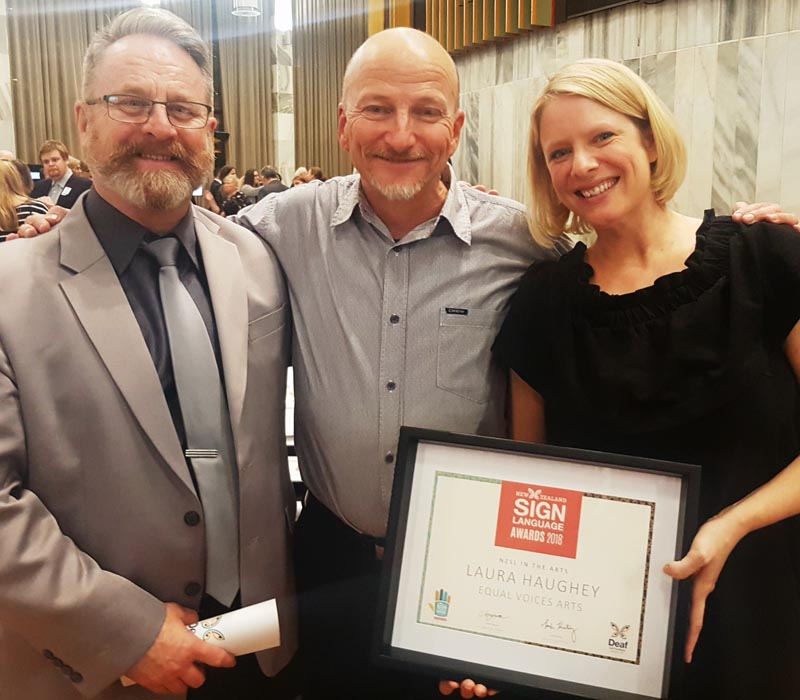 Richard Benge, Shaun Fahey and Laura Haughey at the Deaf Aotearoa Awards 2018