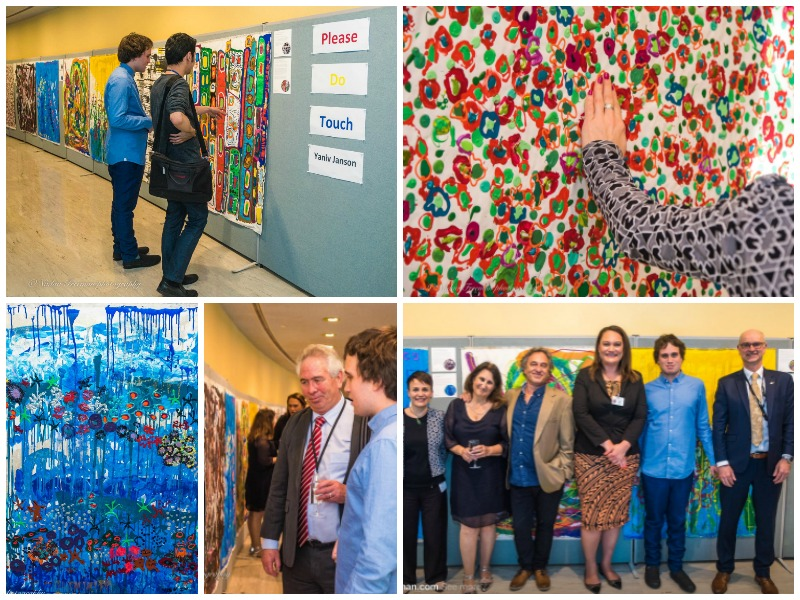 Collage of images of Yaniv Janson, family and officials at the opening of his exhibition in the UN Headquarters, New York