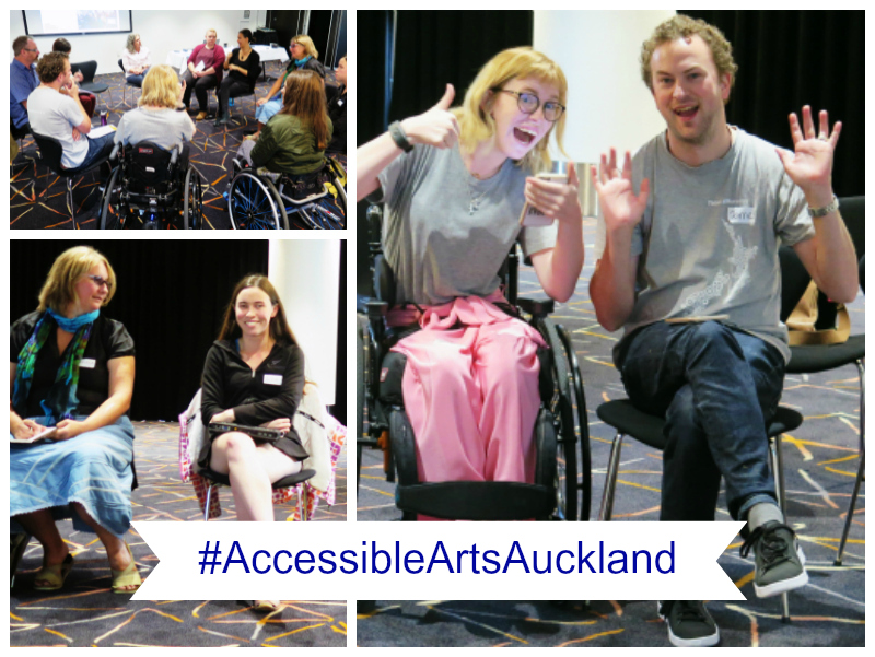 Collage of images from the #Accessible Arts Auckland workshop