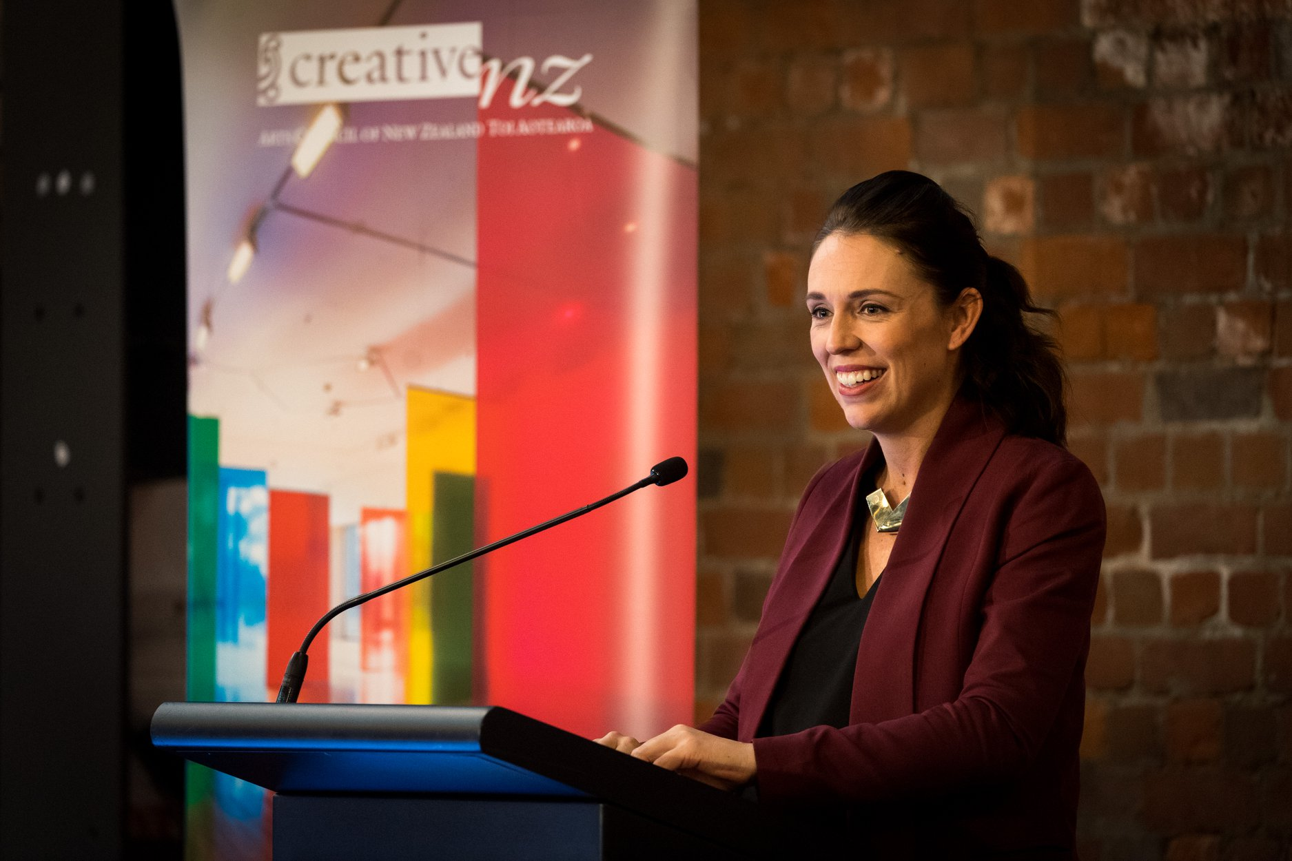 Prime Minister Jacinda Ardenr speaks at the Creative New Zealand conference, Nui Te Korero