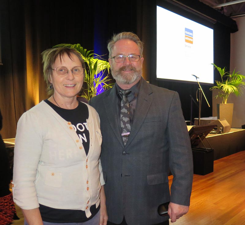 Members of the judging panel Judith Jones, Te Papa, and Richard Benge, Arts Access Aotearoa
