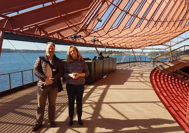 Richard Benge with Jenny Spinak, Accessibility Manager,Sydney Opera House.
