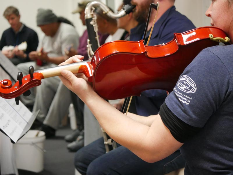 A Christchurch Symphony Orchestra workshop with men in the Navigate Unit of Christchurch Men's Prison