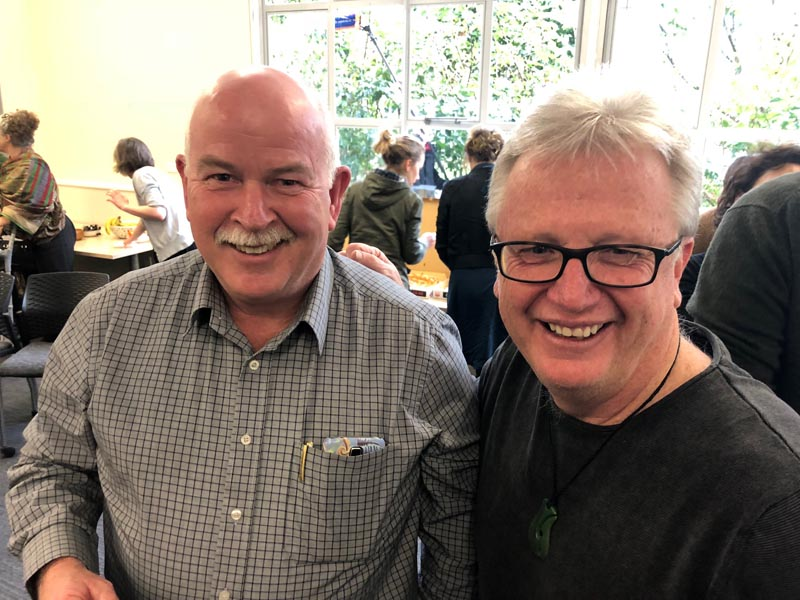 Mark Lynds, Department of Corrections, and Peter O'Connor, University of Auckland at an Arts in Corrections Network meeting