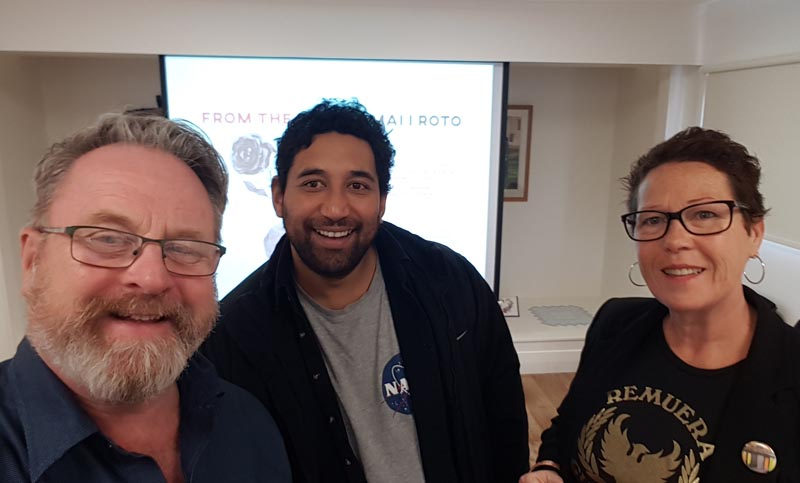 Richard Benge and Chris Ulutupu, Arts Access Aotearoa with Kerence Stephen at the 2019 Taupo Museum exhibition