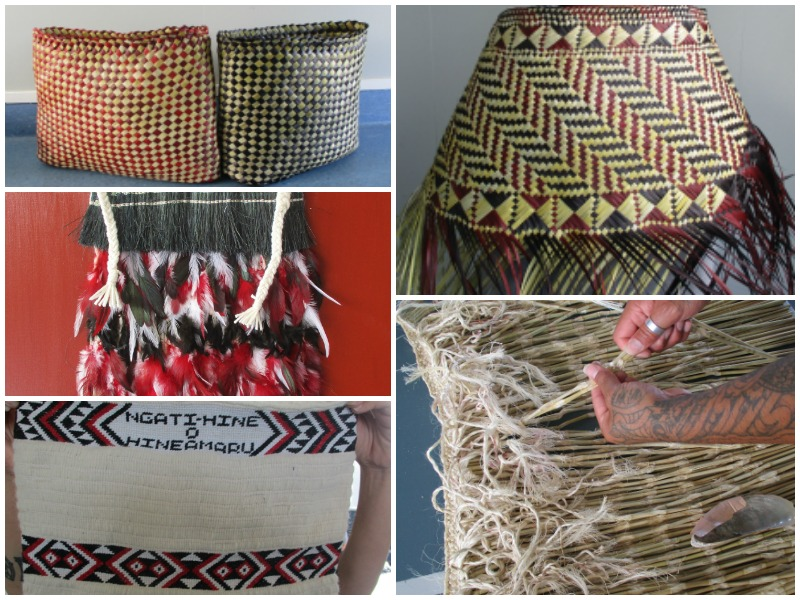 Collage of images of raranga woven by men in Whanganui Prison