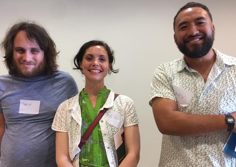 Yaniv Janson, Alex Lodge and Gavin at the December Arts For All Auckland Network meeting