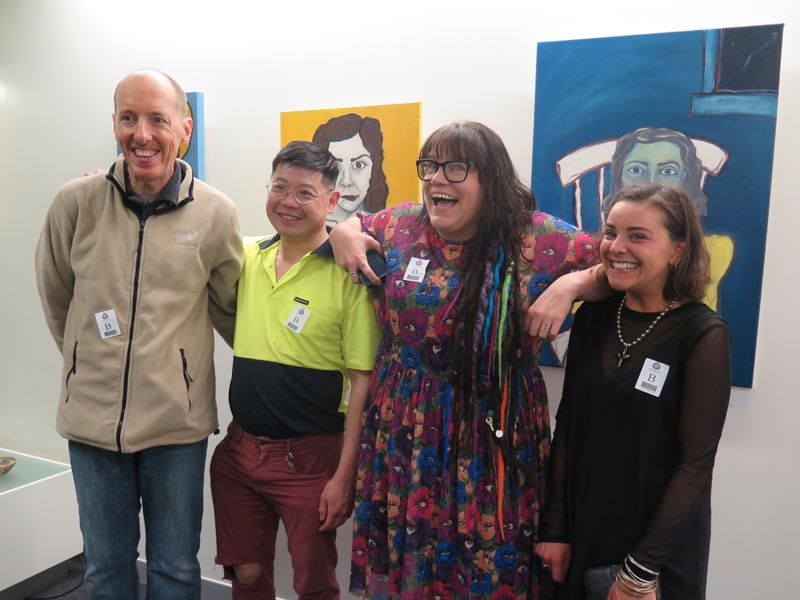Eryn Gribble with artists Daniel Phillips, Nicol Cheung and Maisie Chilton Tressler