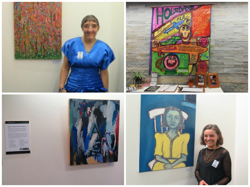 Collage of images from the opening of Opportunity Arts Visits Parliament