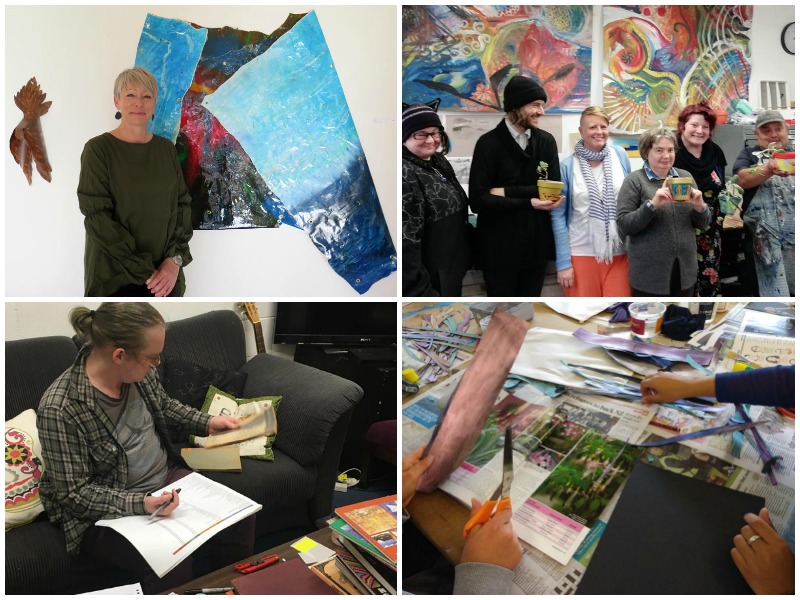 A collage of images of artists, staff and volunteers at Pablos Art Studio