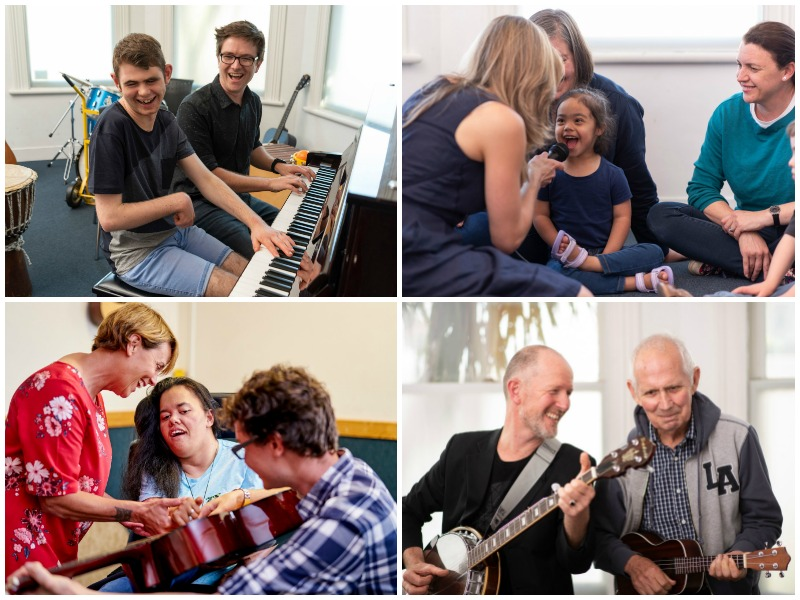 A collage of images of music therapists and clients at Raukatauri Music Therapy Centre