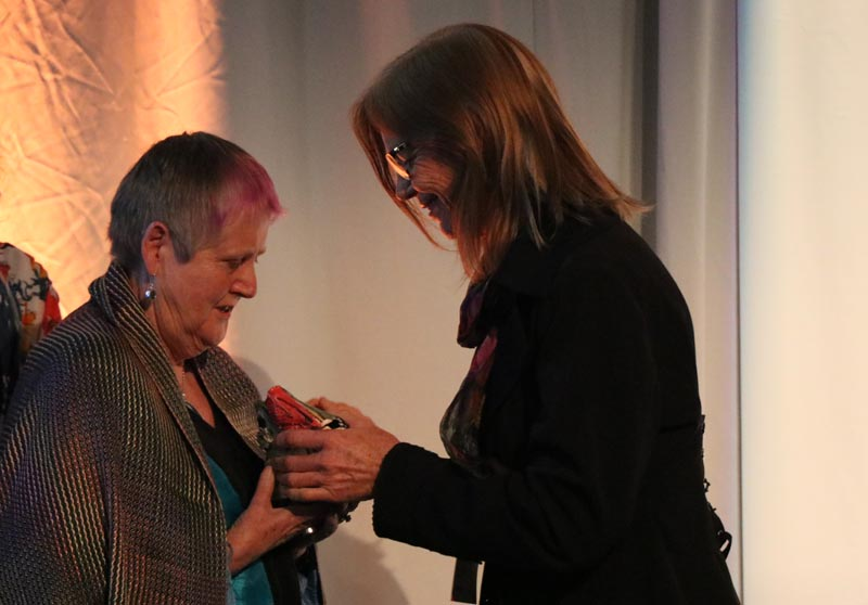 Robyn Hunt presented the Arts Access Accolade by Dr Karen Webster, Chair, Arts Access Aotearoa
