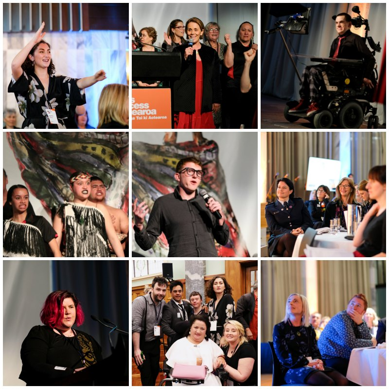 Collage of images from Te Putanga Toi Arts Access Awards 2019