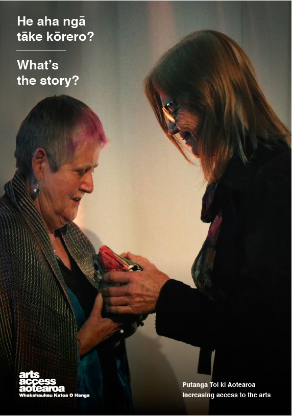Cover image of What's the story? 2019 of Robyn Hunt, presented the Arts Access Accolade 2019 by DFr Karen Webster, Chair, Arts Access Aotearoa