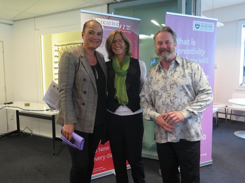 Minister Sepuloni, Dr Karen Webster and Richard Benge, Arts Access Aotearoa at the launch of Te Ora Auaha