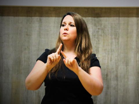Kelly Hodgins, sign language interpreter