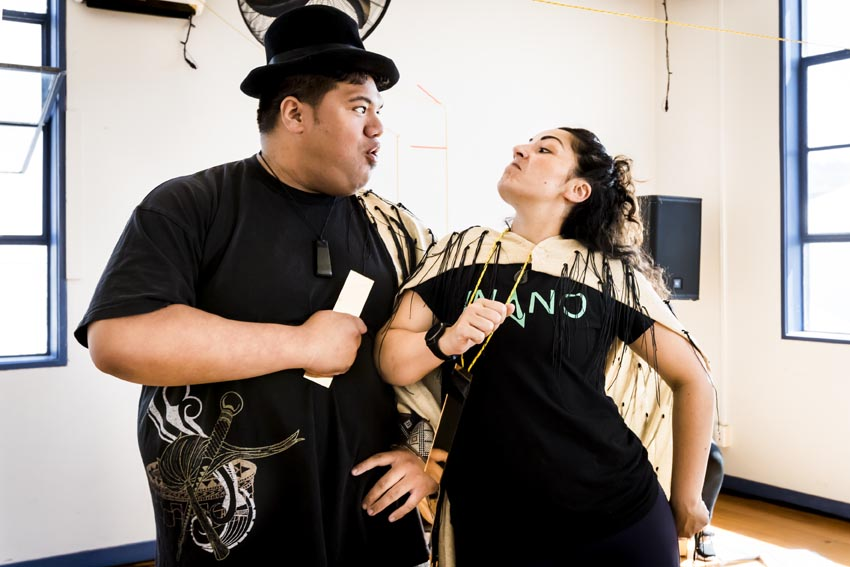 Hosea Tuita'alili and Mapihi Kelland in Ngā Manu Rōreka Photo: Philip Merry