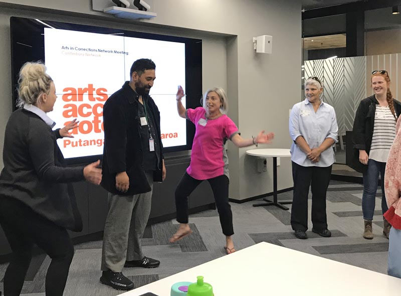 Chris Ulutupu having creative fun at the Arts in Corrections South Island Network meeting in December 2019