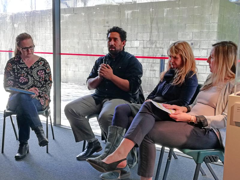Chris Ulutupu in a panel discussion about the Huakina exhibition in 2019