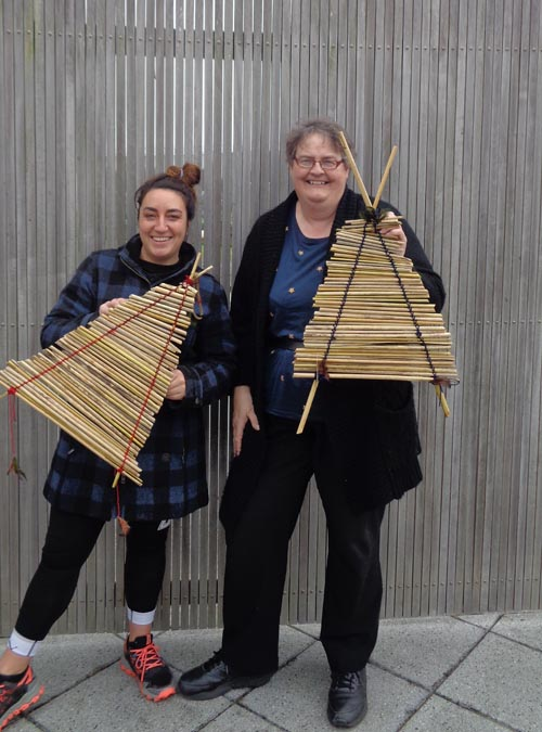 Invercargill Prison volunteer Sharne and Volunteer Coordinator Jane King with the completed kites