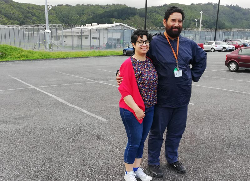 Dr Pooneh Torabian and Chris Ulutupu outside Rimutaka Prison before the Shot Bro performance
