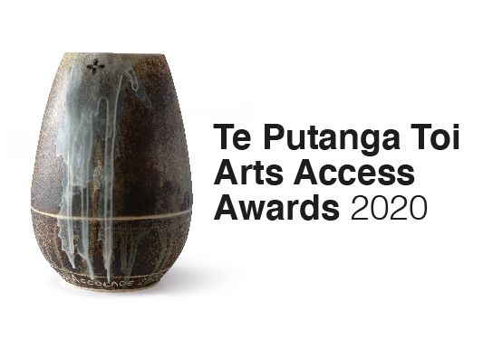 Te Putanga Toi Arts Access Awards 2020 logo Trophy by: Hedy Ankers