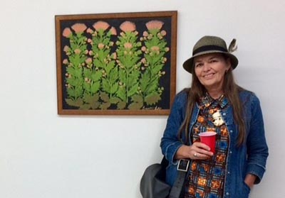Hedy Ankers at an exhibition of her grandmother's artwork